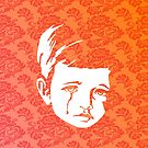 Faces - crying gypsy boy on a red and orange floral background by VrijFormaat