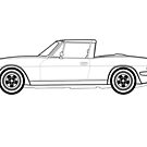 Triumph Stag Classic Car Outline Artwork by RJWautographics