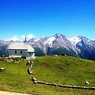 Village church steeple in Switzerland mountains by cocodesigns