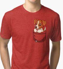 Pocket Cute Jack Russell Terrier Tri-blend T-Shirt