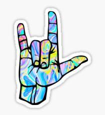 love you rock on Sticker