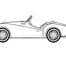 Triumph TR3 Classic Car Outline Artwork by RJWautographics