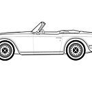 Triumph TR6 Classic Car Outline Artwork  by RJWautographics
