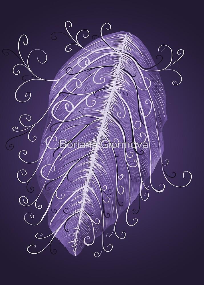 Violet Swirly Leaf by Boriana Giormova