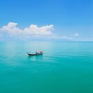 Aerial panoramic view of fishing boat on emerald sea by Lukasz Szczepanski