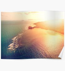 Aerial view of sunset over emerald tropical sea Poster