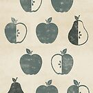Distressed Apples and Pears in Weathered Grey by latheandquill