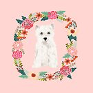 westie floral wreath dog portrait by PetFriendly