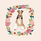 wire fox terrier floral wreath dog portrait by PetFriendly