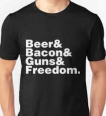 Beer Bacon Guns And Freedom Unisex T-Shirt