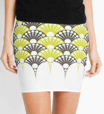 polka dotted fan pattern in brown and lime Mini Skirt