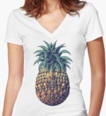 Camiseta entallada de cuello en V Piña adornada (Versión en color)