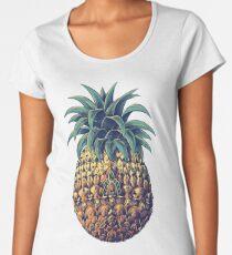 Camiseta premium de cuello ancho Piña adornada (Versión en color)