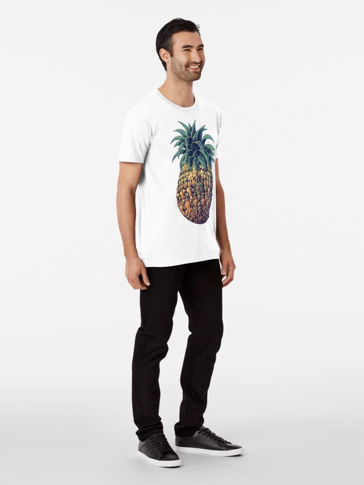 Vista alternativa de Camiseta premium Piña adornada (Versión en color)