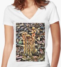 Mushrooms - Indian pipes - Florida Women's Fitted V-Neck T-Shirt