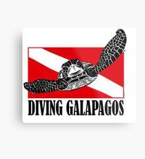 Galapagos Diving with Sea Turtle Metal Print