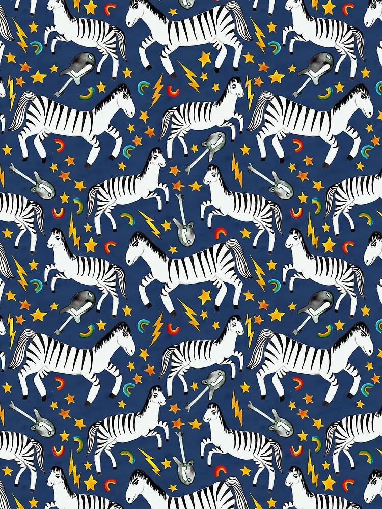 Rockin Rainbow Zebras on Blue by shoshannahscrib