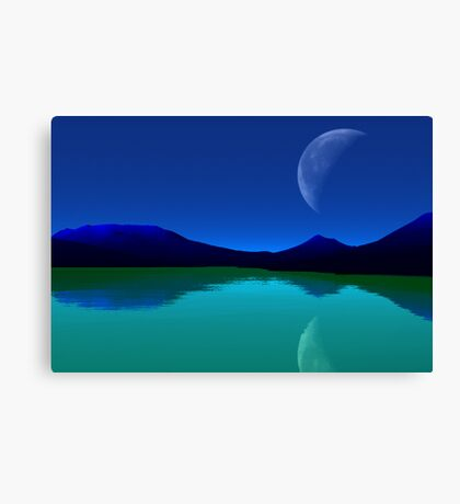 Earthlight - Blue Mountains,Green Seas. Canvas Print