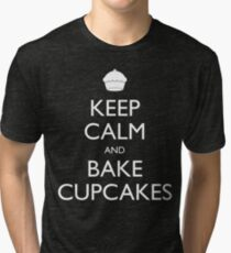 Keep Calm and Bake Cupcakes Tri-blend T-Shirt