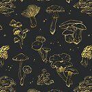 Goldenes Pilzmuster von juliacoalrye