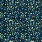 Botanical Leaves Navy by LemonLovegood
