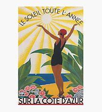 Sur La Cote d'Azur Frankreich, französische Riviera, Weinlese-Reise-Plakat Fotodruck