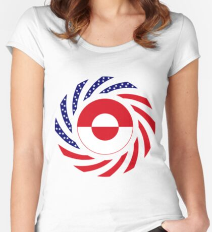 Greenlandic American Multinational Patriot Flag Fitted Scoop T-Shirt