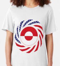Greenlandic American Multinational Patriot Flag Slim Fit T-Shirt