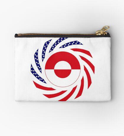 Greenlandic American Multinational Patriot Flag Zipper Pouch
