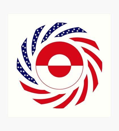 Greenlandic American Multinational Patriot Flag Art Print