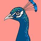 Peacock Portrait ( coral ) by Adam Regester