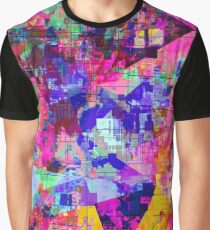 colorful psychedelic geometric splash painting abstract background in pink blue yellow orange green Graphic T-Shirt