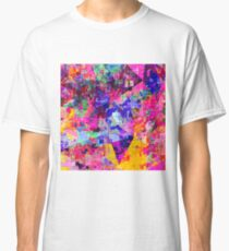 colorful psychedelic geometric splash painting abstract background in pink blue yellow orange green Classic T-Shirt