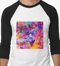 colorful psychedelic geometric splash painting abstract background in pink blue yellow orange green Men's Baseball ¾ T-Shirt