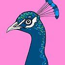 Peacock Portrait ( pink ) by Adam Regester