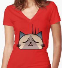 Annoyingly frustrated Cat Palico Women's Fitted V-Neck T-Shirt