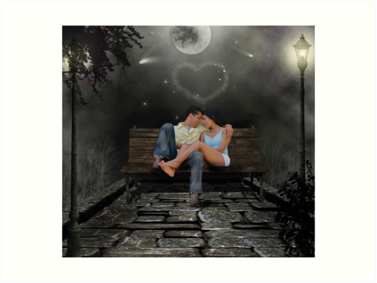 Two Lovers On A Park Bench Art Prints By Sunshine0 Redbubble