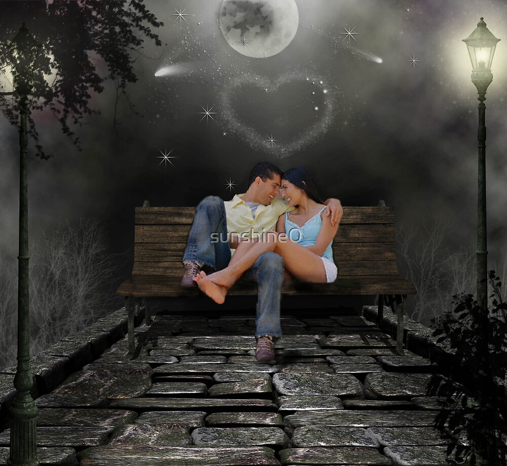 Two Lovers On A Park Bench By Sunshine0 Redbubble