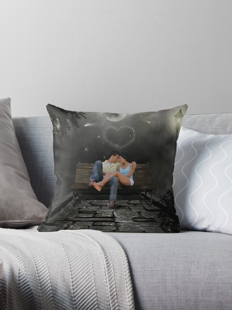 Two Lovers On A Park Bench Throw Pillows By Sunshine0 Redbubble