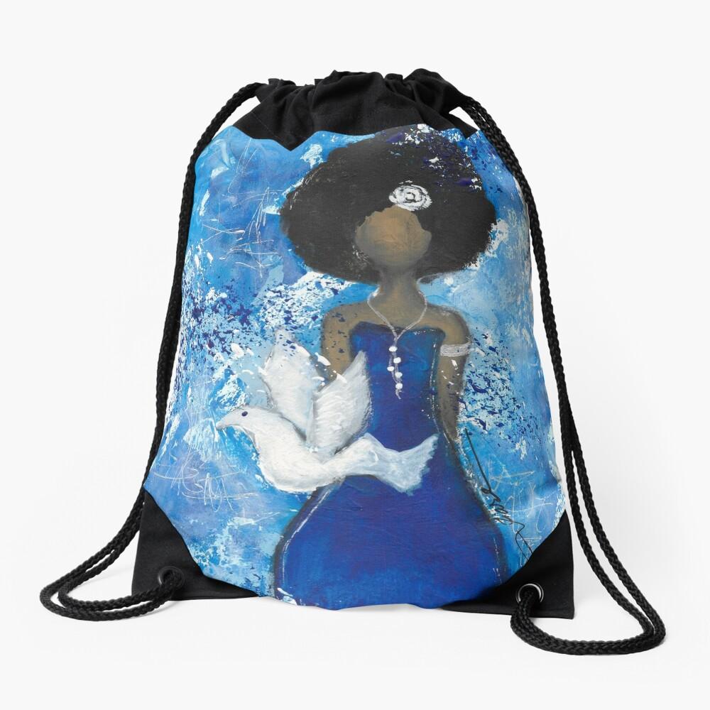 Zeta Angel Drawstring Bag Front