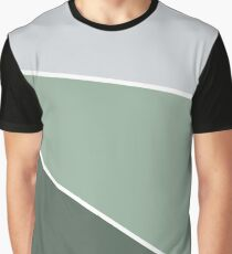 Diagonal Color Block in Greens and Gray Graphic T-Shirt