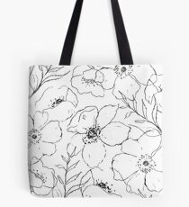 Floral Simplicity - Black & White Tote Bag