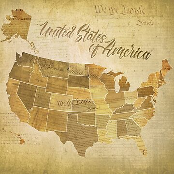 Vintage United States of America (USA) Map with Constitution, Bill of Rights faded in background by jitterfly