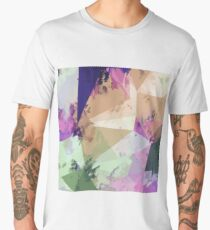 psychedelic geometric triangle polygon pattern abstract in pink green brown blue Men's Premium T-Shirt
