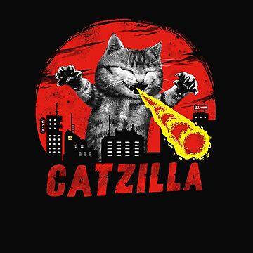 Funny Cute Catzilla Cat Kitty Feline Pet Animal Tee Design Print by dopelikethe80s