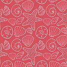 Beach Seashells Red and White by kellie-jayne