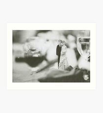 Bride and groom cake topper wedding marriage banquet black and white analog 35mm film photo Art Print