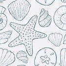 Beach Seashells Blue  by kellie-jayne