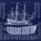 Antique Blueprint British Warship plan from 1728 by Glimmersmith