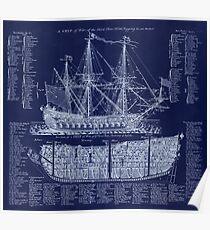 Antique British Warship blueprint plan from 1728 Poster